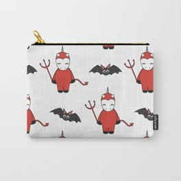 cute cartoon devil unicorns halloween pattern background with bats Carry-All Pouch