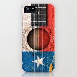 Old Vintage Acoustic Guitar with Texas Flag iPhone Case