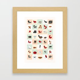 Mid-Century Modern Furniture (Warm) Framed Art Print