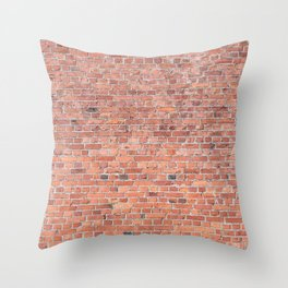 Plain Old Orange Red London Brick Wall Throw Pillow
