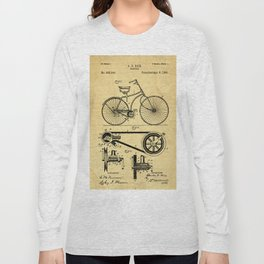 Bicyole Support Patent Drawing From 1890 Long Sleeve T-shirt