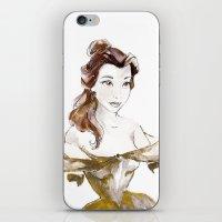 belle iPhone & iPod Skins featuring Belle by waterandinkprints