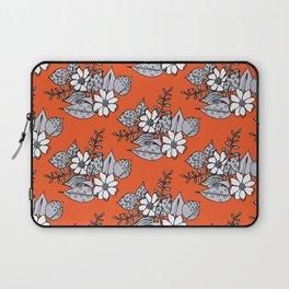 Orangey Gray Floral Laptop Sleeve