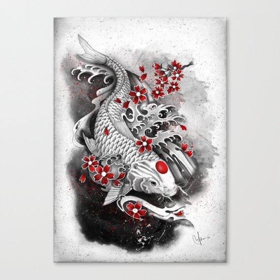 White Koi and sakuras Canvas Print