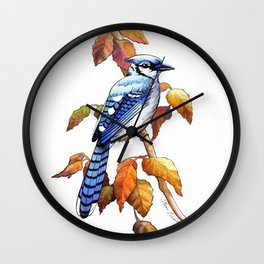 Bluebird in Autumn Wall Clock