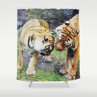 tigers Shower Curtains featuring Tigers by Irene Jaramillo