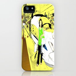 A Lady And The Bullet Train iPhone Case