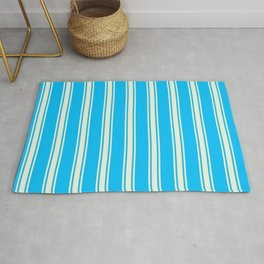 Deep Sky Blue and Beige Colored Striped/Lined Pattern Rug