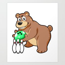 Bowling Bear Pins Ball Cartoon Comic Gift Art Print