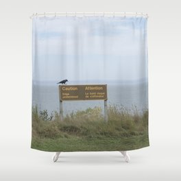 Caution (American black crow on caution sign) Shower Curtain
