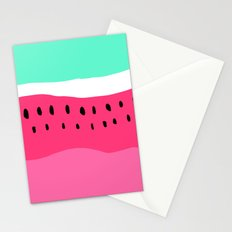 Modern summer watermelon color block neon pink turquoise Stationery Cards