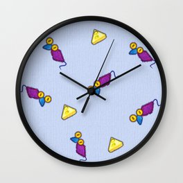 Colorful and positive vintage mouses and cheese on canvas print Wall Clock