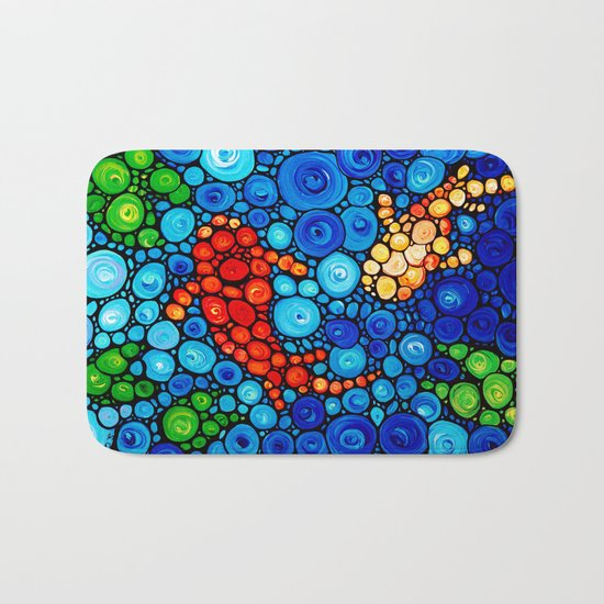 Pure Koi Joi - Mosaic Fish Art Painting by Sharon Cummings Bath Mat