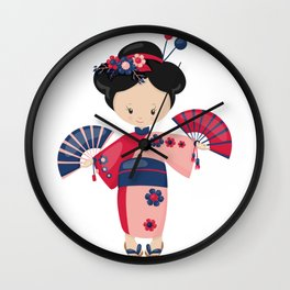 Japanese Kimono Girl Pink and Purple Kimono Wall Clock
