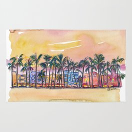 Miami Florida Ocean Drive Lights with Vanilla Sky Rug