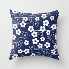 Blue Sakura Kimono Pattern Throw Pillow