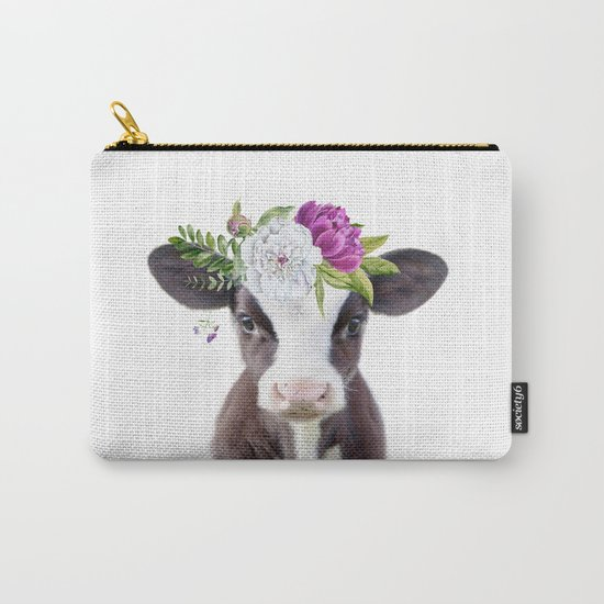 Baby Cow with Flower Crown by amypetersonartstudio