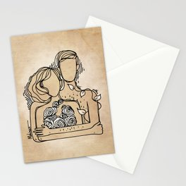 Adam and Eve ink drawing illustration minimal art love Stationery Cards