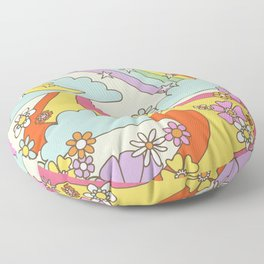 retro hippie boho print  Floor Pillow