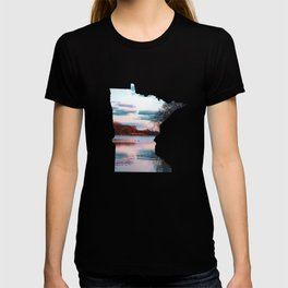 Minnesota Map Outline and the Mississippi River-Landscape Photography T-shirt