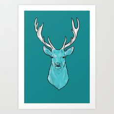 The Wild Spring Stag - Animal print Art Print