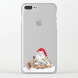 The gnome and his friend the fox - Christmas Clear iPhone Case