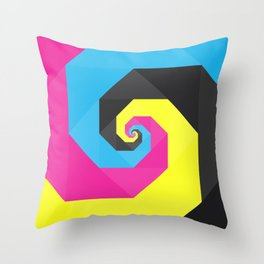 CMYK triangle spiral Throw Pillow