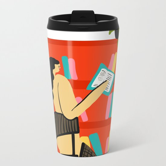 Girl Reading Metal Travel Mug