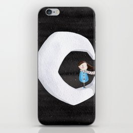 Girl on the Moon iPhone Skin