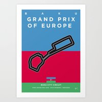 My F1 BAKU Race Track Minimal Poster Art Print