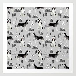 Husky siberian huskies mountains pet portrait dog dogs pet friendly dog breeds gifts Art Print