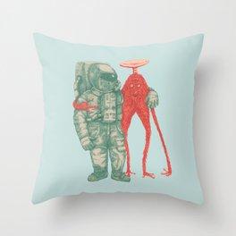Alien & Astronaut Throw Pillow