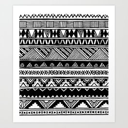 Black White Cute Girly Urban Tribal Aztec Andes Abstract Geometric Hand-drawn Pattern Art Print