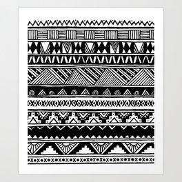 Black White Cute Girly Urban Tribal Aztec Andes Abstract Geometric Hand-drawn Pattern Art Print