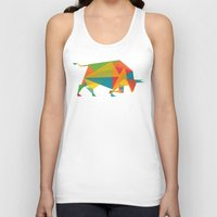 indonesia Tank Tops featuring Fractal Geometric Bull by Picomodi