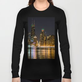Chicago North Shore Skyline Night Long Sleeve T-shirt