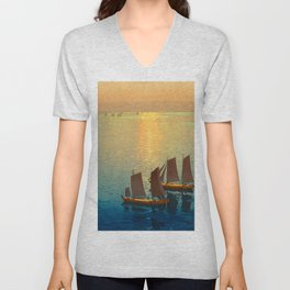 Hiroshi Yoshida Vintage Japanese Woodblock Art Ocean Sunset Sailboat Orange Blue Color Hues Unisex V-Neck
