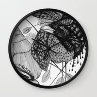sketch Wall Clocks featuring Sketch by Cat Sims