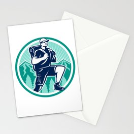 hiking green logo Stationery Cards