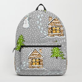 Alpine Ski Resort on Gray Backpack