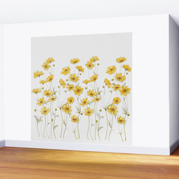 Yellow Cosmos Flowers Wall Mural