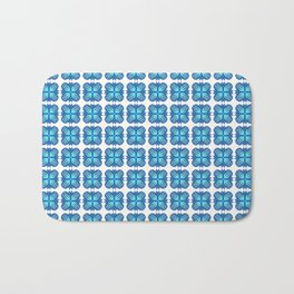 Classic Blue Bubble Flower with Cyan on White Pattern Bath Mat