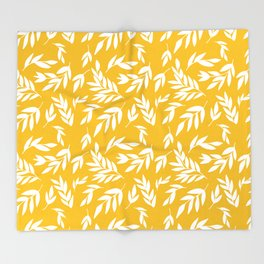 Flowers on honey yellow Throw Blanket