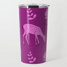 Autumn Animals In Purple Art Squirrels & Deer Travel Mug