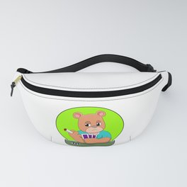 Bear at Poker with Cards & Poker chip Fanny Pack