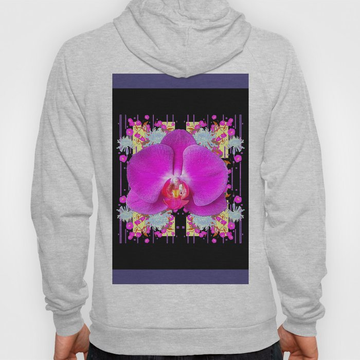 Purple & Fuchsia Pink Butterfly Orchids On Black Floral Art Hoody