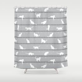 Cats Pattern (Grey) Shower Curtain