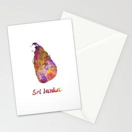 Sri Lanka in watercolor Stationery Cards
