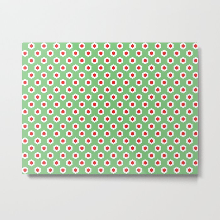 Holiday Hexies Mint & Red Metal Print