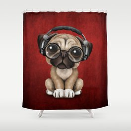 Cute Pug Puppy Dj Wearing Headphones and Glasses on Red Shower Curtain